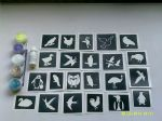 Bird themed glitter temporary tattoo set incl. 30 mixed stencils + 5 glitter colours + glue   owl